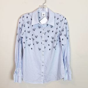 Cabi | pin striped floral print button up blouse